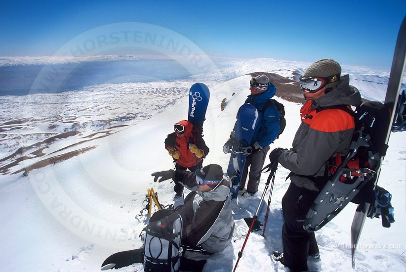 A group of snowboarders planning first tracks in Lebanon