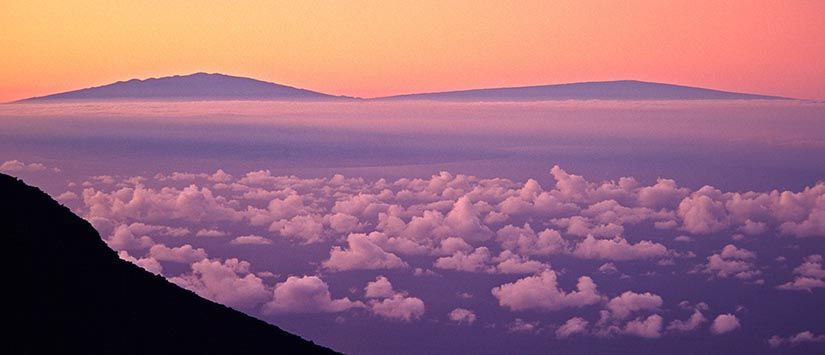 Big Island Hawaii volcanoes as seen from Maui.  - Click to see more in Landscape Gallery
